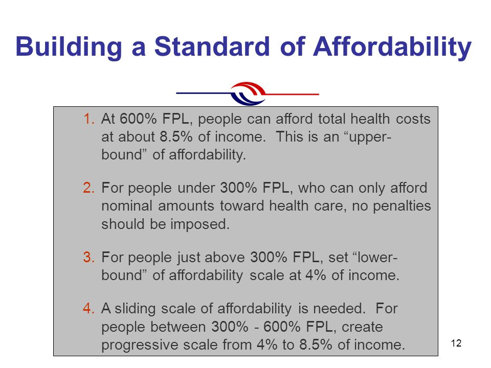 (c) Community Catalyst April 200712 Building a Standard of Affordability 1.At 600% FPL, people can afford total health costs at about 8.5% of income.