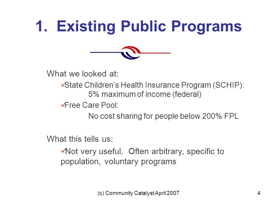 (c) Community Catalyst April 20074 1. Existing Public Programs What we looked at: State Children's Health Insurance Program (SCHIP): 5% maximum of inc
