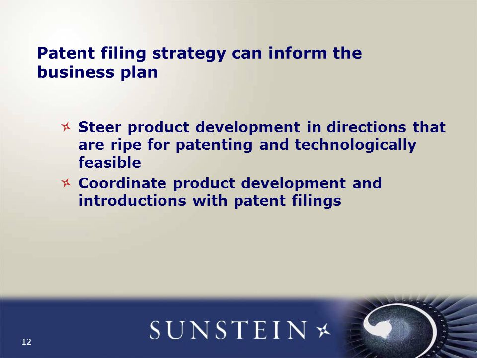 12 Patent filing strategy can inform the business plan Steer product development in directions that are ripe for patenting and technologically feasible Coordinate product development and introductions with patent filings