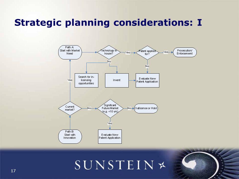17 Strategic planning considerations: I
