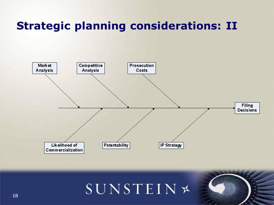 18 Strategic planning considerations: II