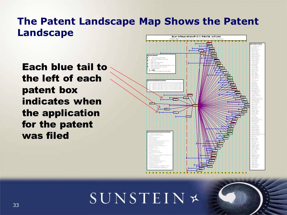 33 The Patent Landscape Map Shows the Patent Landscape Each blue tail to the left of each patent box indicates when the application for the patent was filed