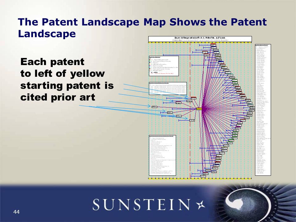 44 The Patent Landscape Map Shows the Patent Landscape Each patent to left of yellow starting patent is cited prior art