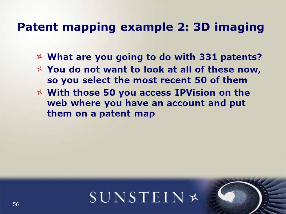 Patent mapping example 2: 3D imaging What are you going to do with 331 patents.