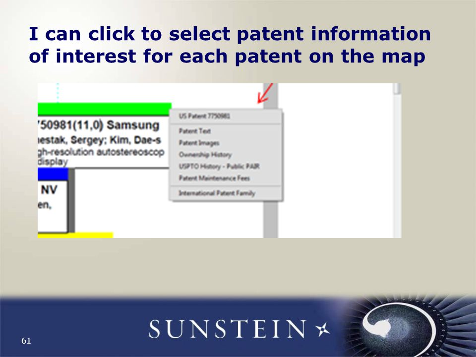 I can click to select patent information of interest for each patent on the map 61