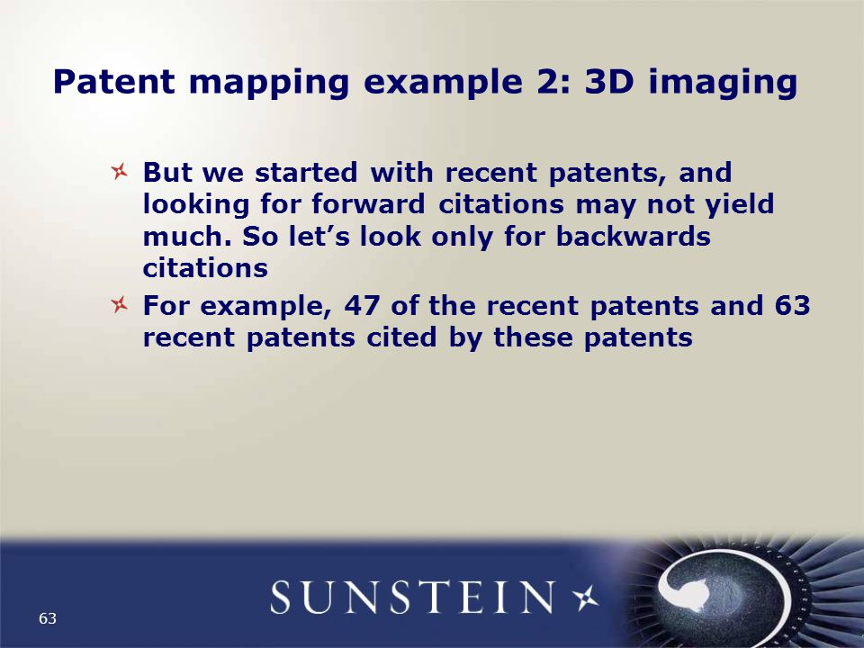 Patent mapping example 2: 3D imaging But we started with recent patents, and looking for forward citations may not yield much.