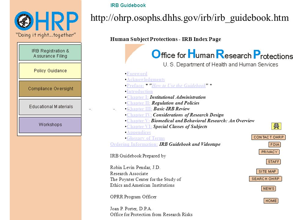 -- -- -- -- -- -- -- If you have questions about human subject research, click ohrp@osophs.dhhs.gov If you have questions/suggestions about this web p