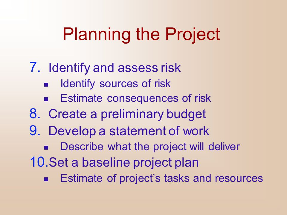 Planning the Project 7. Identify and assess risk Identify sources of risk Estimate consequences of risk 8. Create a preliminary budget 9. Develop a st