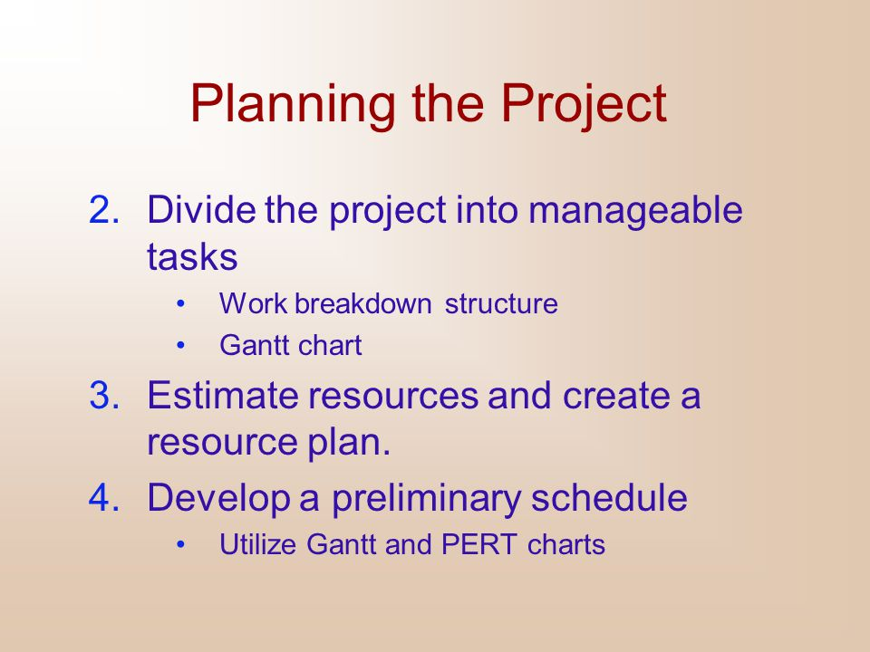 Planning the Project 5.