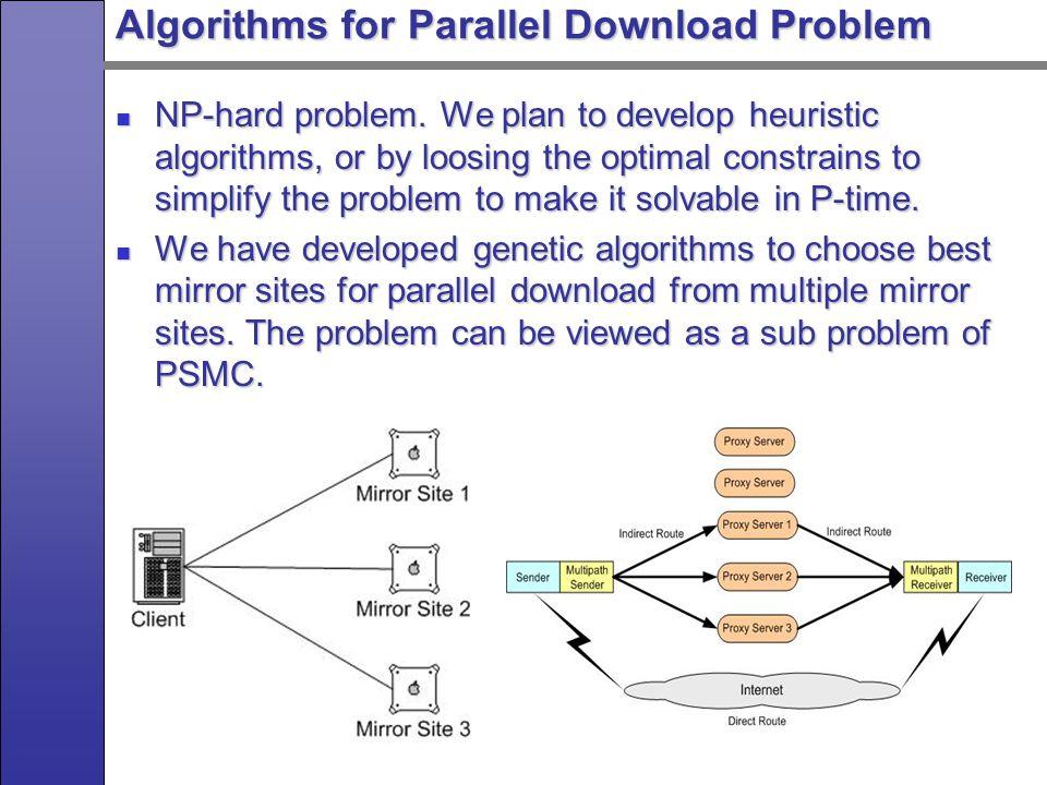 Algorithms for Parallel Download Problem NP-hard problem.