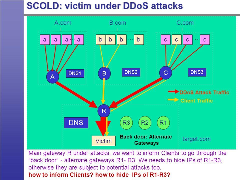 SCOLD: victim under DDoS attacks Victim aaaabbbbcccc A.comB.comC.com...