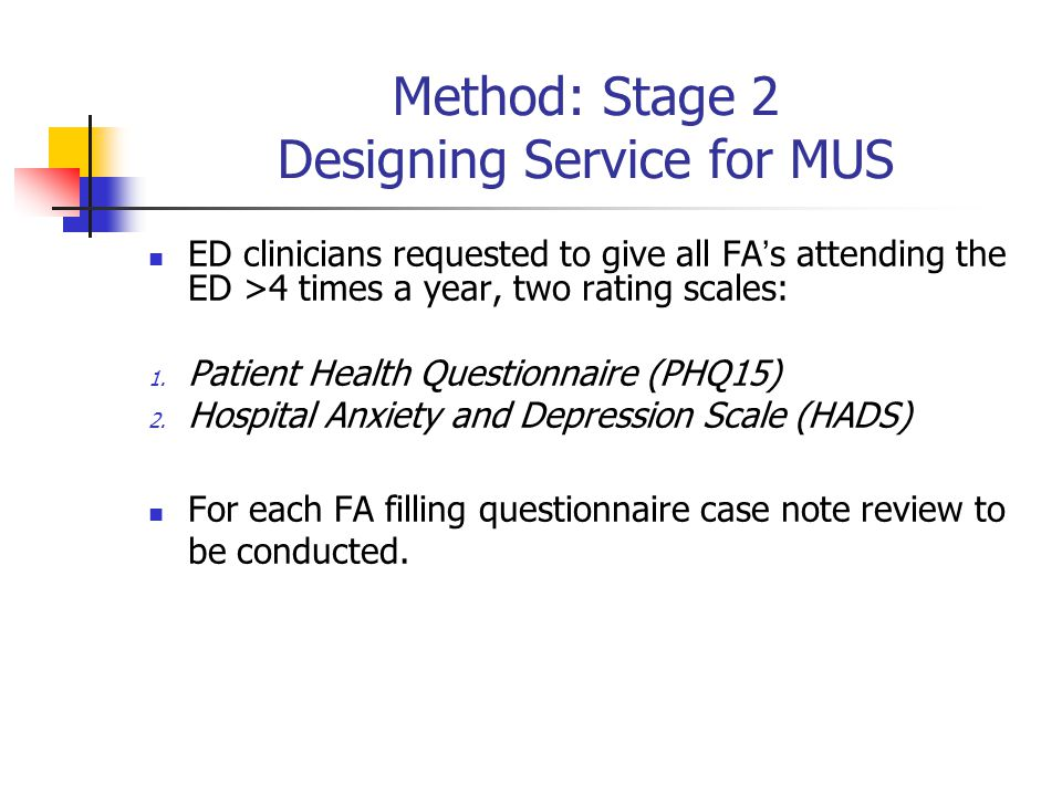 Method: Stage 2 Designing Service for MUS ED clinicians requested to give all FA's attending the ED >4 times a year, two rating scales: 1.