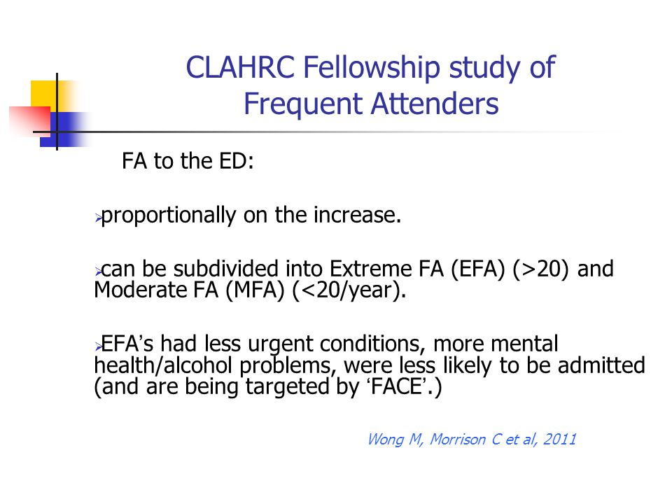 CLAHRC Fellowship study of Frequent Attenders FA to the ED:  proportionally on the increase.