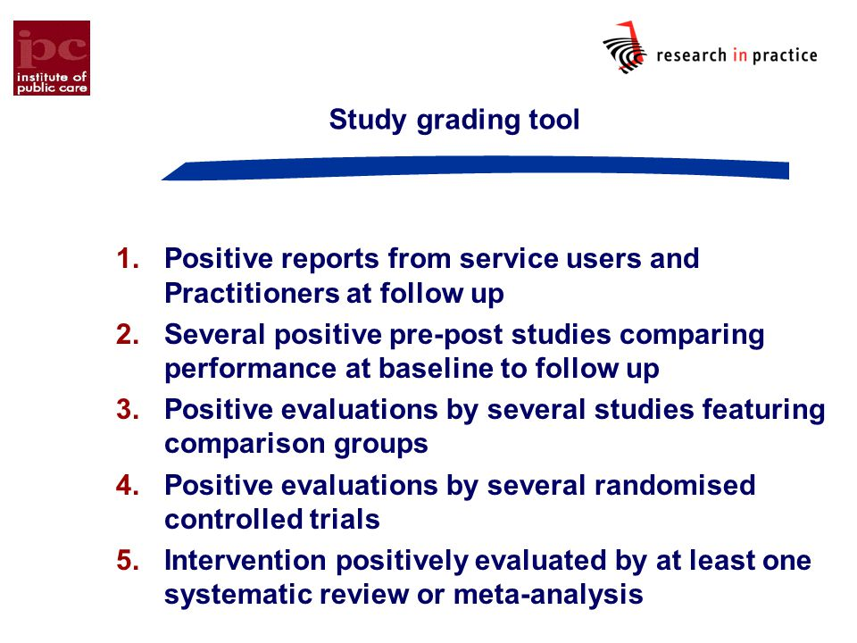 Study grading tool 1.Positive reports from service users and Practitioners at follow up 2.Several positive pre ‑ post studies comparing performance at baseline to follow up 3.Positive evaluations by several studies featuring comparison groups 4.Positive evaluations by several randomised controlled trials 5.Intervention positively evaluated by at least one systematic review or meta-analysis