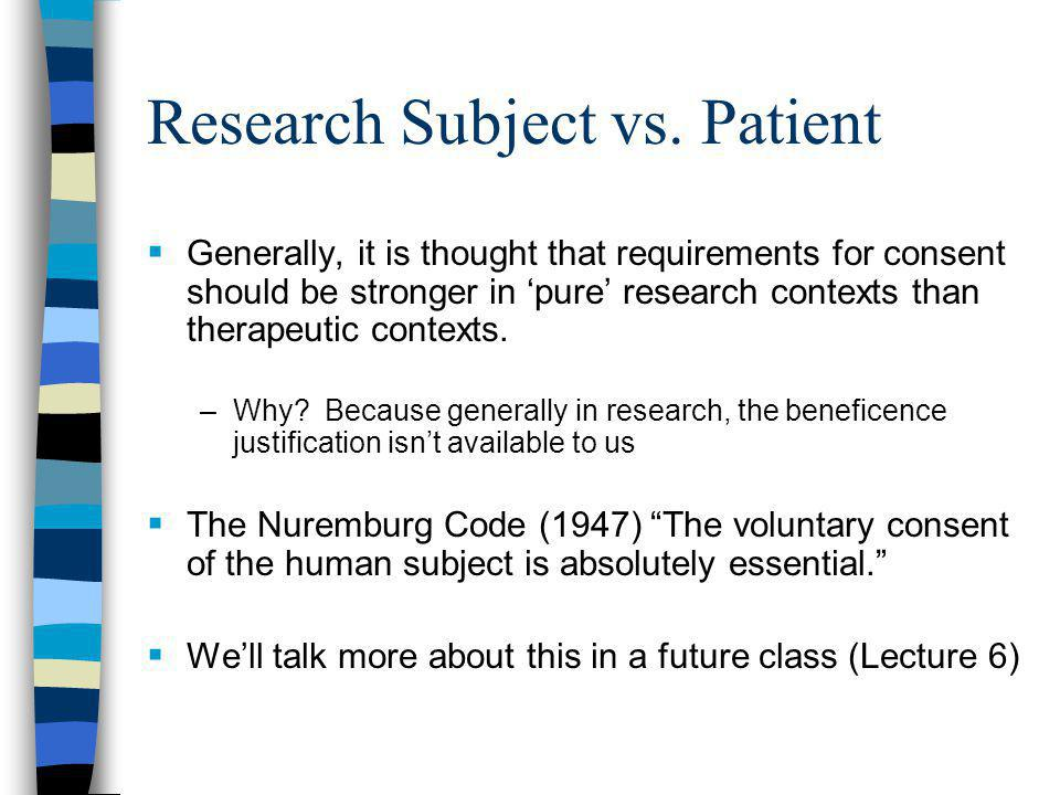 Research Subject vs.