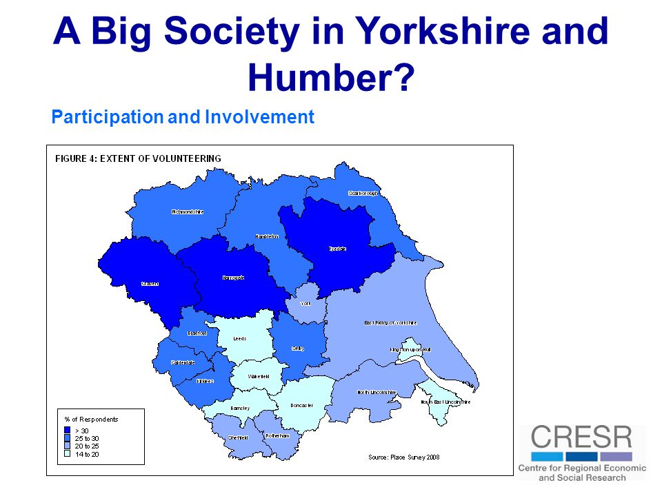 A Big Society in Yorkshire and Humber Participation and Involvement