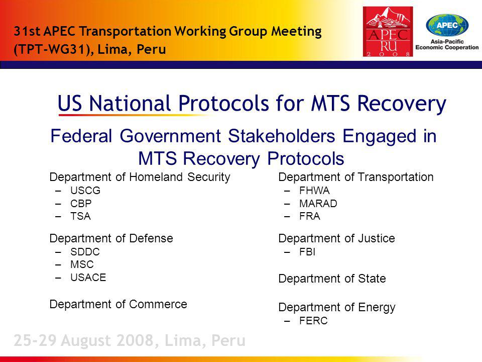 US National Protocols for MTS Recovery 25-29 August 2008, Lima, Peru 31st APEC Transportation Working Group Meeting (TPT-WG31), Lima, Peru Federal Government Stakeholders Engaged in MTS Recovery Protocols Department of Homeland Security –USCG –CBP –TSA Department of Defense –SDDC –MSC –USACE Department of Commerce Department of Transportation –FHWA –MARAD –FRA Department of Justice –FBI Department of State Department of Energy –FERC