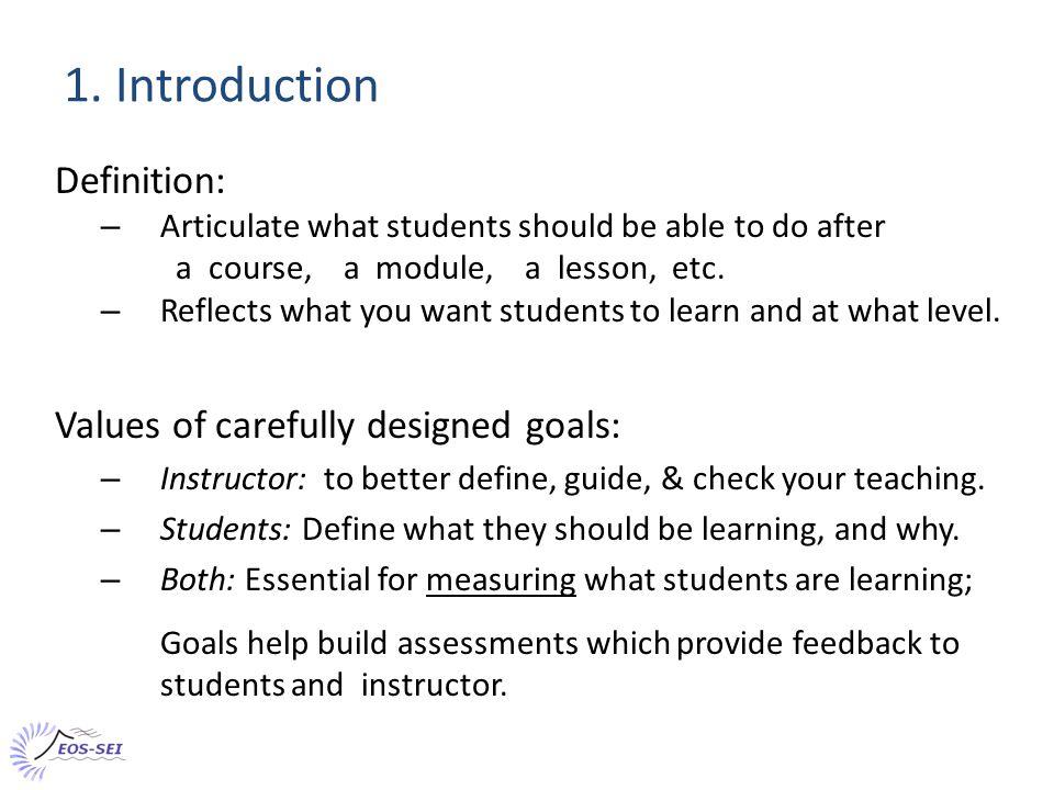 Recap: Some aspects of course-level goals Characteristics: Minimal technical terminology (unlike topic level goals).