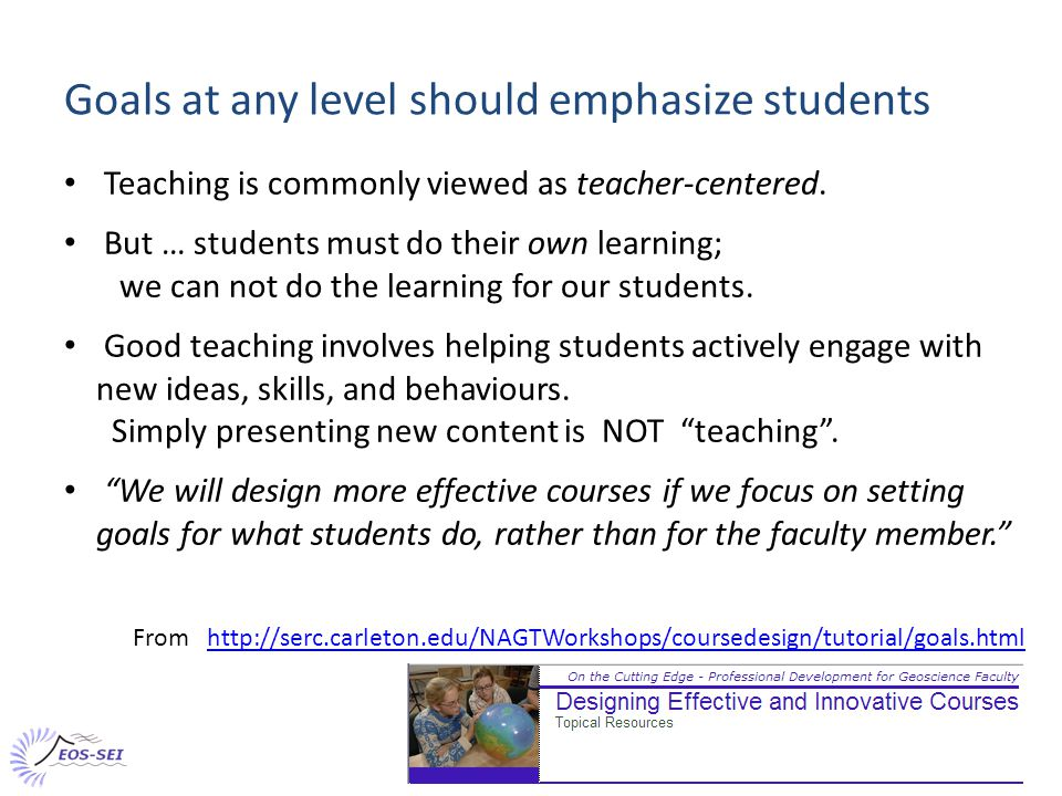 Recap 2 - Building linked course level and topic level goals Student (NOT teacher) point of view.