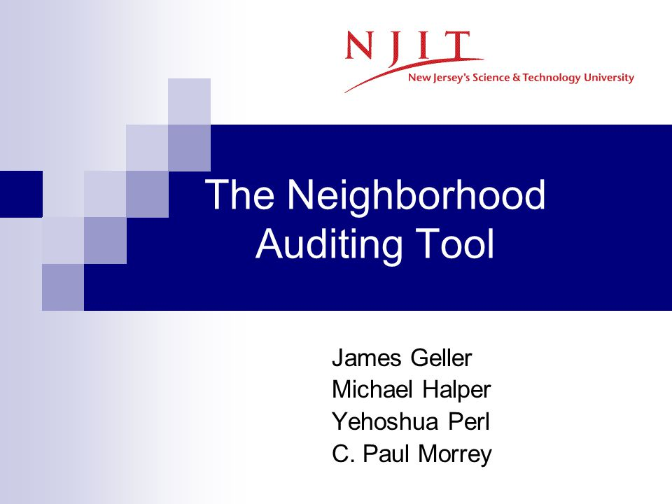 The Neighborhood Auditing Tool James Geller Michael Halper Yehoshua Perl C. Paul Morrey