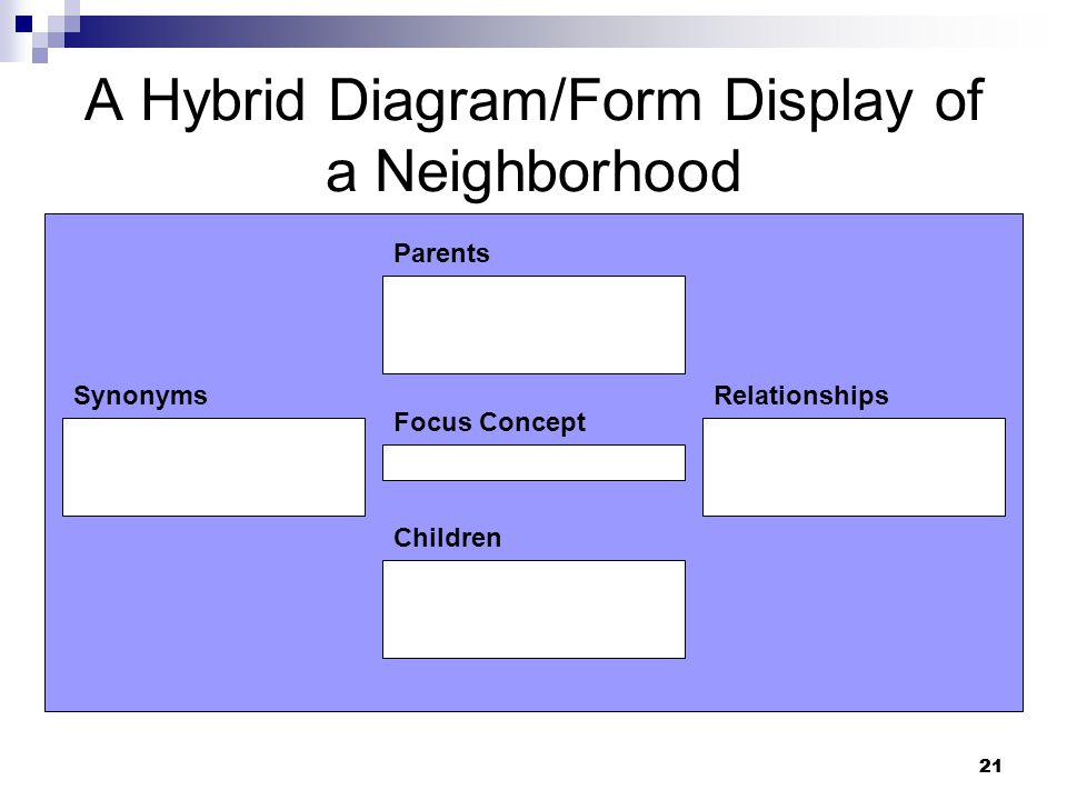 21 A Hybrid Diagram/Form Display of a Neighborhood Children Focus Concept SynonymsRelationships Parents