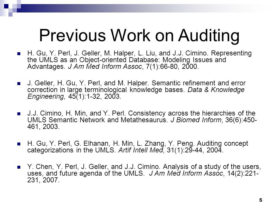 6 Previous Work on Auditing (cont'd) H.Gu, G. Hripcsak, Y.