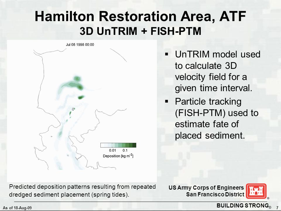 BUILDING STRONG ® As of 18-Aug-097 US Army Corps of Engineers San Francisco District Hamilton Restoration Area, ATF 3D UnTRIM + FISH-PTM  UnTRIM model used to calculate 3D velocity field for a given time interval.