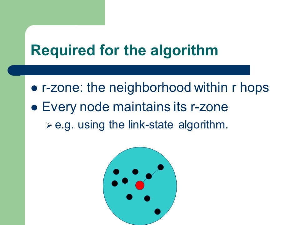 Required for the algorithm r-zone: the neighborhood within r hops Every node maintains its r-zone  e.g.