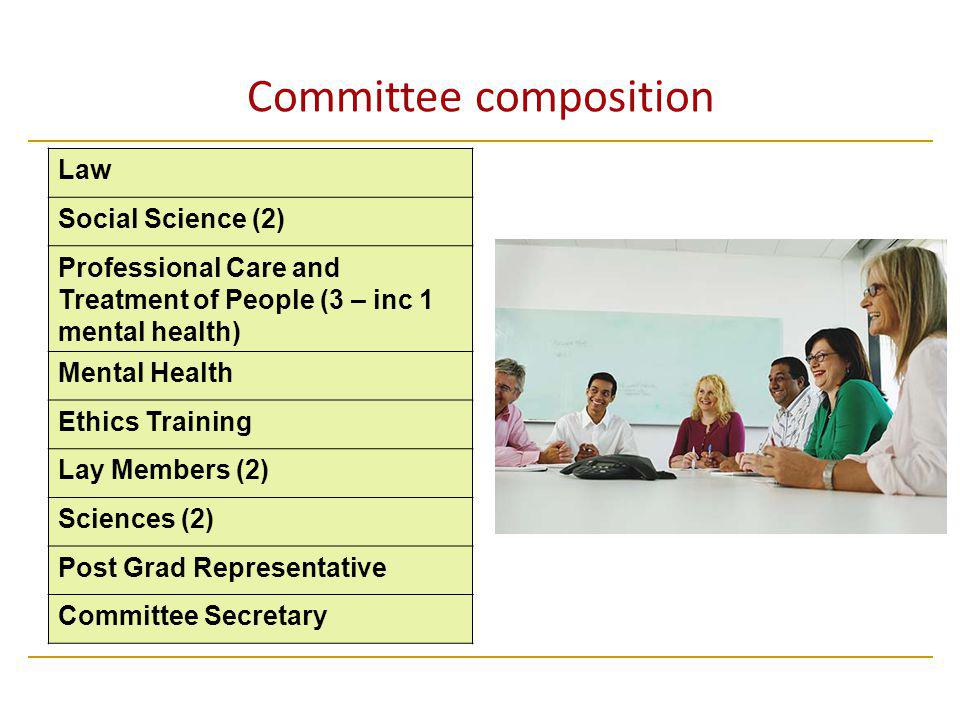 Committee composition Law Social Science (2) Professional Care and Treatment of People (3 – inc 1 mental health) Mental Health Ethics Training Lay Members (2) Sciences (2) Post Grad Representative Committee Secretary