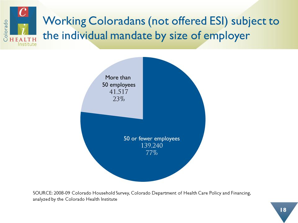Working Coloradans (not offered ESI) subject to the individual mandate by size of employer SOURCE: 2008-09 Colorado Household Survey, Colorado Department of Health Care Policy and Financing, analyzed by the Colorado Health Institute 18