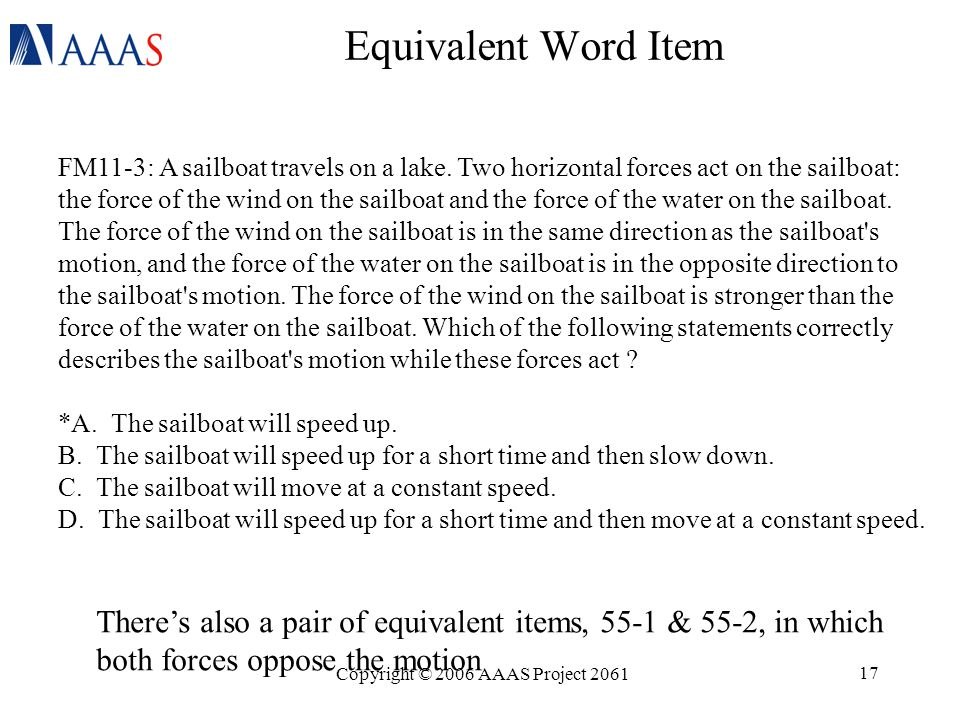 Copyright © 2006 AAAS Project 2061 17 Equivalent Word Item FM11-3: A sailboat travels on a lake.