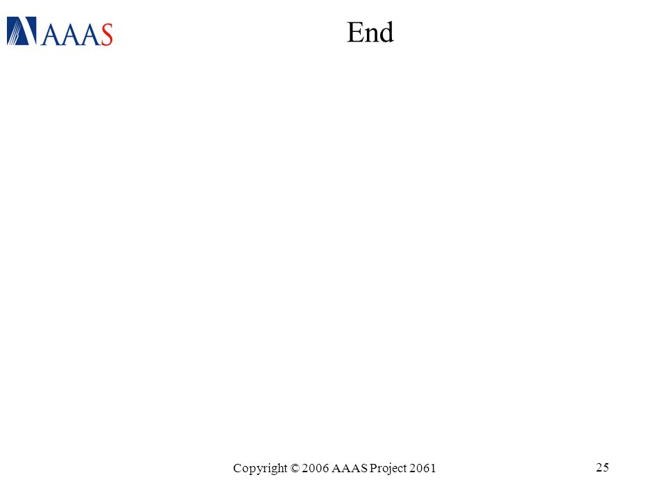 Copyright © 2006 AAAS Project 2061 25 End