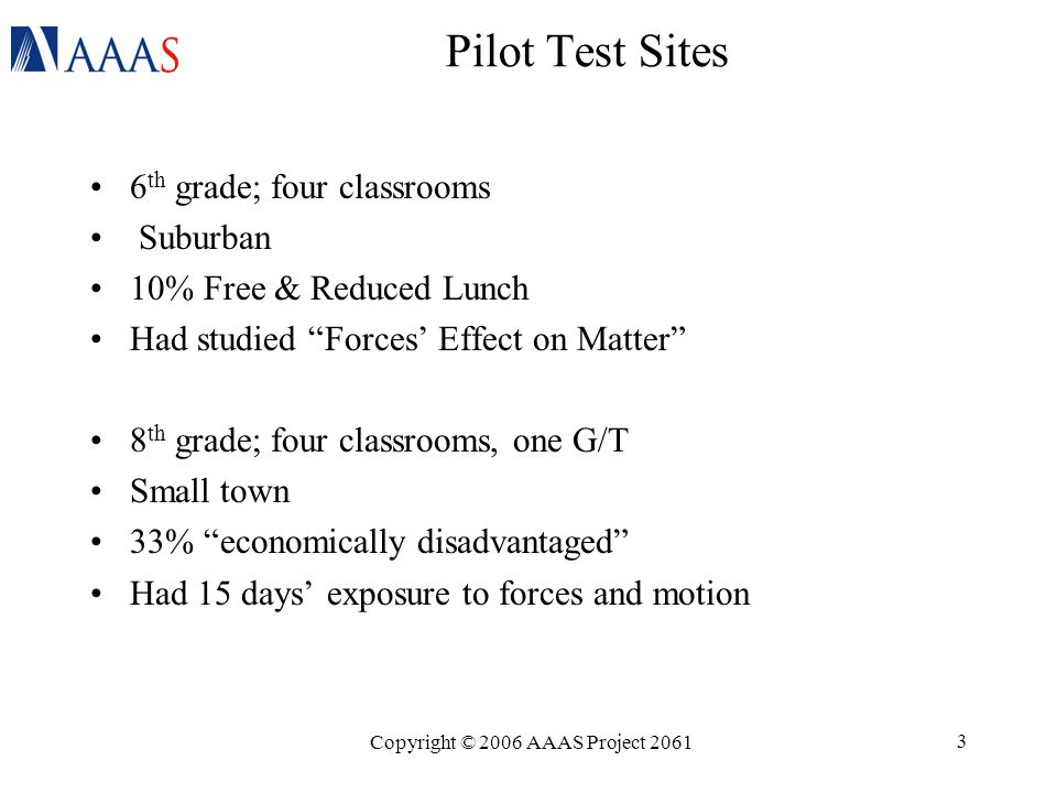 Copyright © 2006 AAAS Project 2061 3 Pilot Test Sites 6 th grade; four classrooms Suburban 10% Free & Reduced Lunch Had studied Forces' Effect on Matter 8 th grade; four classrooms, one G/T Small town 33% economically disadvantaged Had 15 days' exposure to forces and motion