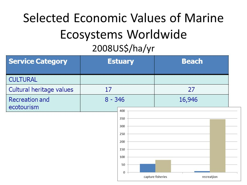 Selected Economic Values of Marine Ecosystems Worldwide 2008US$/ha/yr Service CategoryEstuaryBeach CULTURAL Cultural heritage values1727 Recreation and ecotourism 8 - 34616,946