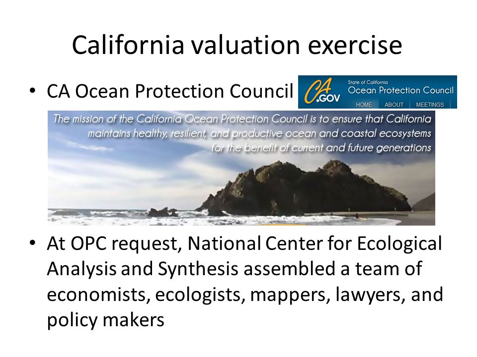 California valuation exercise CA Ocean Protection Council At OPC request, National Center for Ecological Analysis and Synthesis assembled a team of economists, ecologists, mappers, lawyers, and policy makers