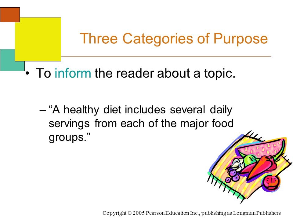 """Copyright © 2005 Pearson Education Inc., publishing as Longman Publishers Three Categories of Purpose To inform the reader about a topic. –""""A healthy"""