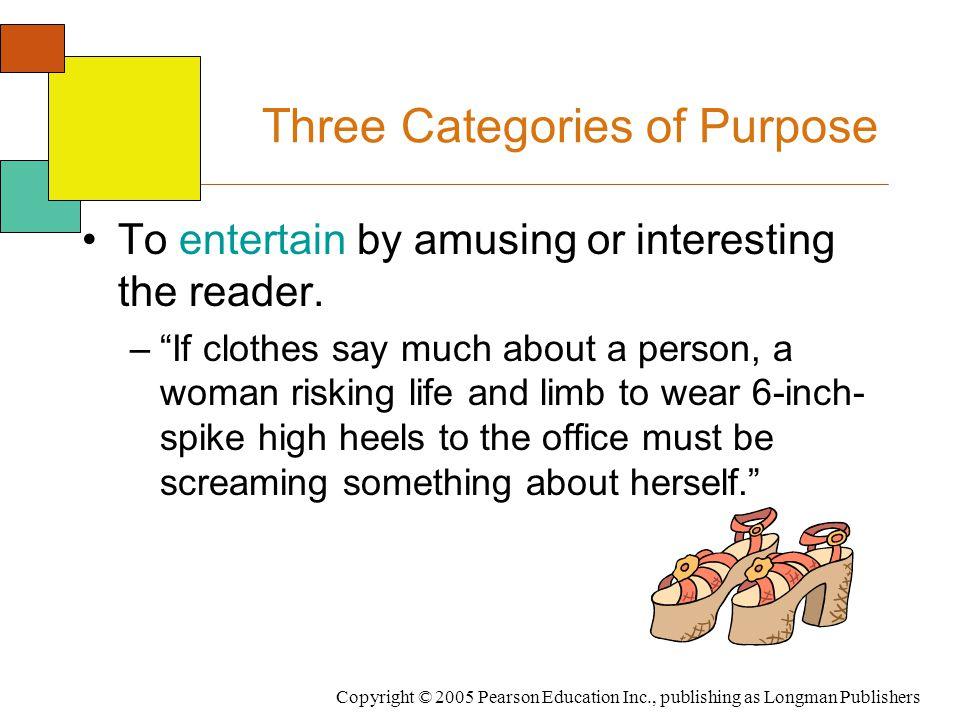 Copyright © 2005 Pearson Education Inc., publishing as Longman Publishers Three Categories of Purpose To entertain by amusing or interesting the reade