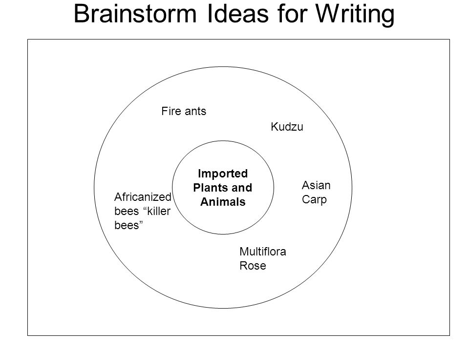 Brainstorm Ideas for Writing Imported Plants and Animals Fire ants Kudzu Africanized bees killer bees Asian Carp Multiflora Rose