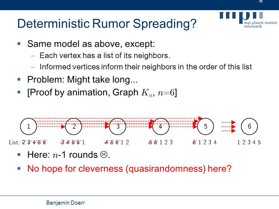 Benjamin Doerr Runtime: Experimental Results (n=1024) Complete graph K n Hypercube H 10 Lists: inform the neighbor in dimension 1, 2, 3,... Average broadcast times: Fully random: 18.09 ± 1.74 Quasirandom: 17.63 ± 1.76 Fully random: 21.11 ± 1.78 Quasirandom: 18.71 ± 0.71 Lists: neighbors sorted in increasing order