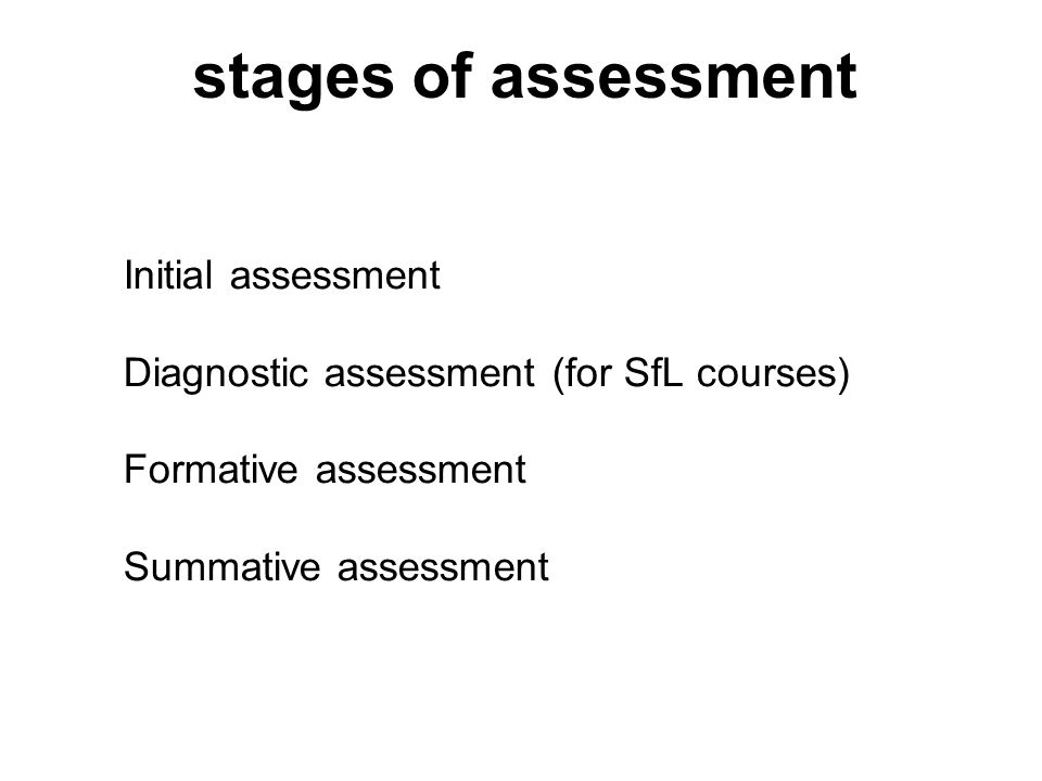 Initial assessment A skills check which will establish levels of current skills and areas for further development.