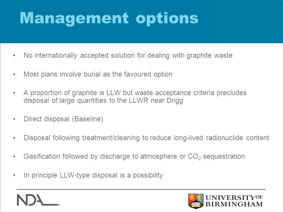 Management options No internationally accepted solution for dealing with graphite waste Most plans involve burial as the favoured option A proportion of graphite is LLW but waste acceptance criteria precludes disposal of large quantities to the LLWR near Drigg Direct disposal (Baseline) Disposal following treatment/cleaning to reduce long-lived radionuclide content Gasification followed by discharge to atmosphere or CO 2 sequestration In principle LLW-type disposal is a possibility
