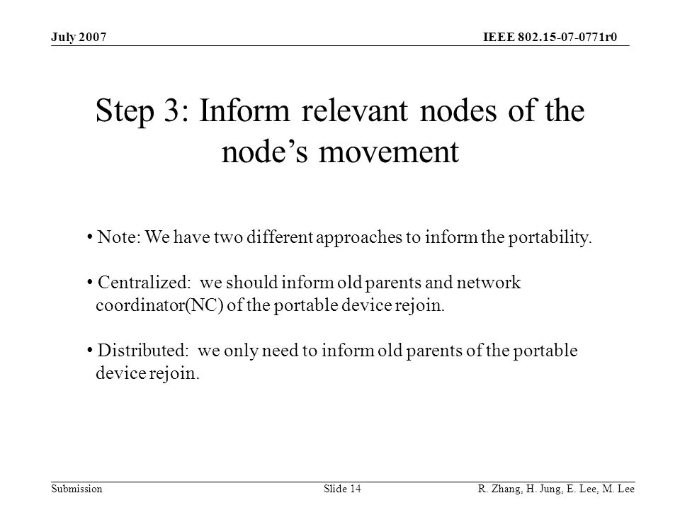 IEEE 802.15-07-0771r0 SubmissionSlide 14 Step 3: Inform relevant nodes of the node's movement Note: We have two different approaches to inform the portability.