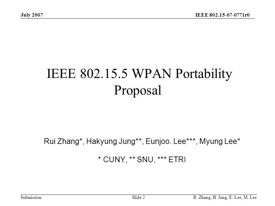 IEEE 802.15-07-0771r0 SubmissionSlide 2 IEEE 802.15.5 WPAN Portability Proposal Rui Zhang*, Hakyung Jung**, Eunjoo.