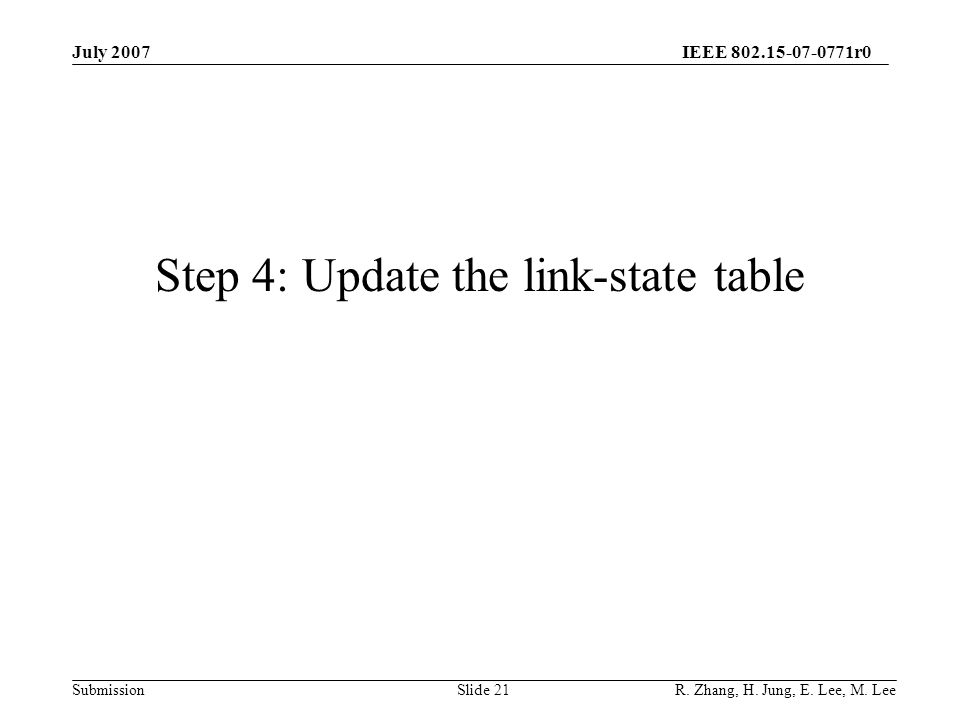 IEEE 802.15-07-0771r0 SubmissionSlide 21 Step 4: Update the link-state table July 2007 R.