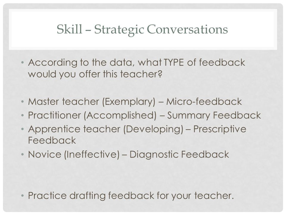 Skill – Strategic Conversations According to the data, what TYPE of feedback would you offer this teacher.