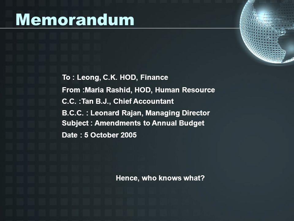 Memorandum To : Leong, C.K.