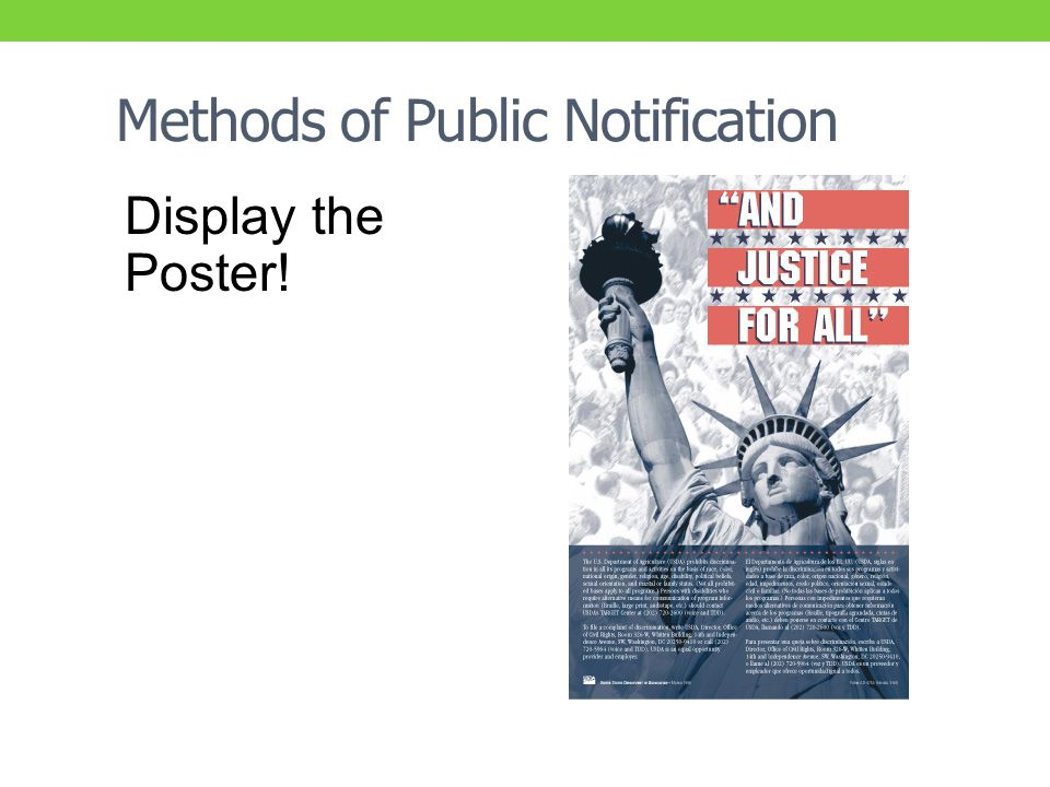 Methods of Public Notification Display the Poster!
