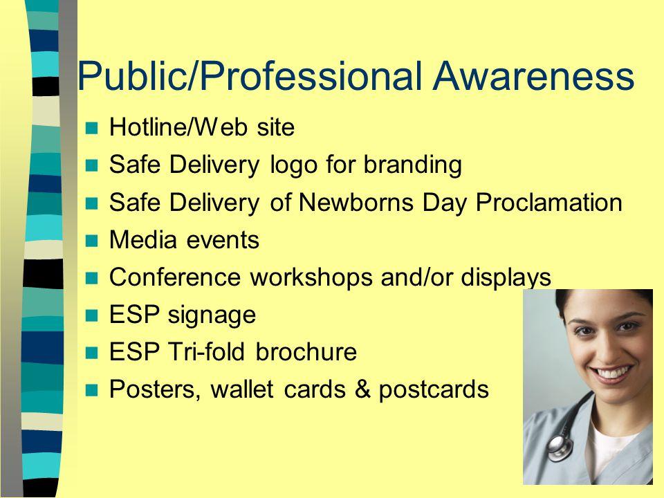Public/Professional Awareness Hotline/Web site Safe Delivery logo for branding Safe Delivery of Newborns Day Proclamation Media events Conference workshops and/or displays ESP signage ESP Tri-fold brochure Posters, wallet cards & postcards