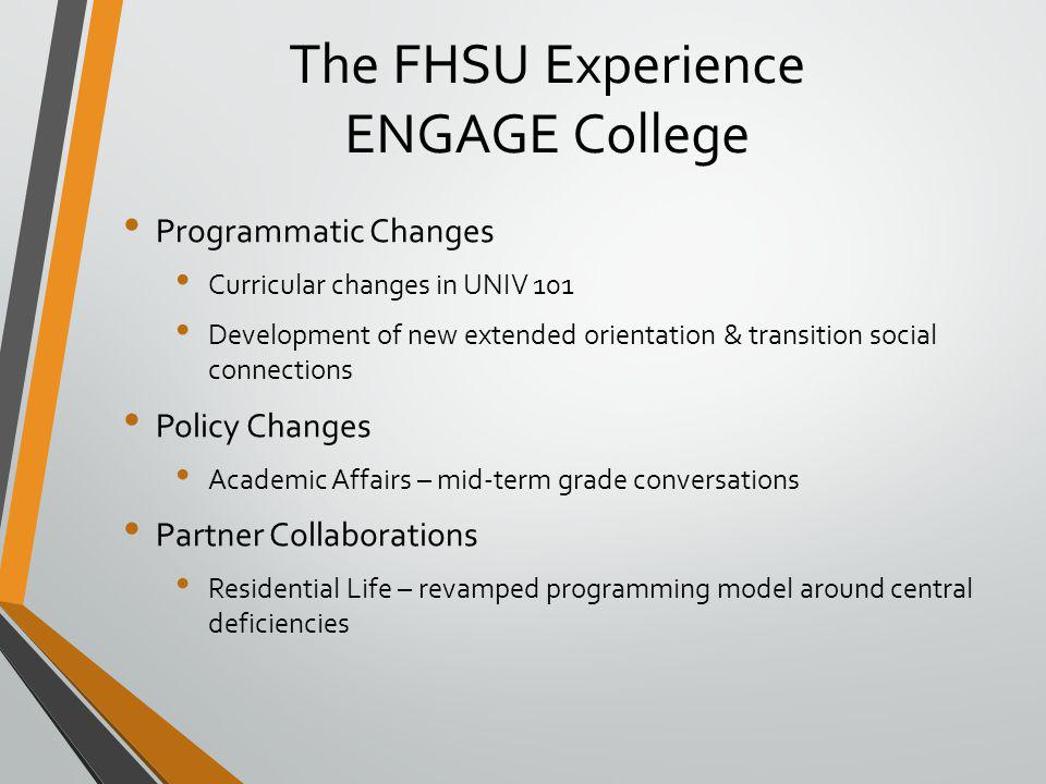 The FHSU Experience ENGAGE College Programmatic Changes Curricular changes in UNIV 101 Development of new extended orientation & transition social connections Policy Changes Academic Affairs – mid-term grade conversations Partner Collaborations Residential Life – revamped programming model around central deficiencies