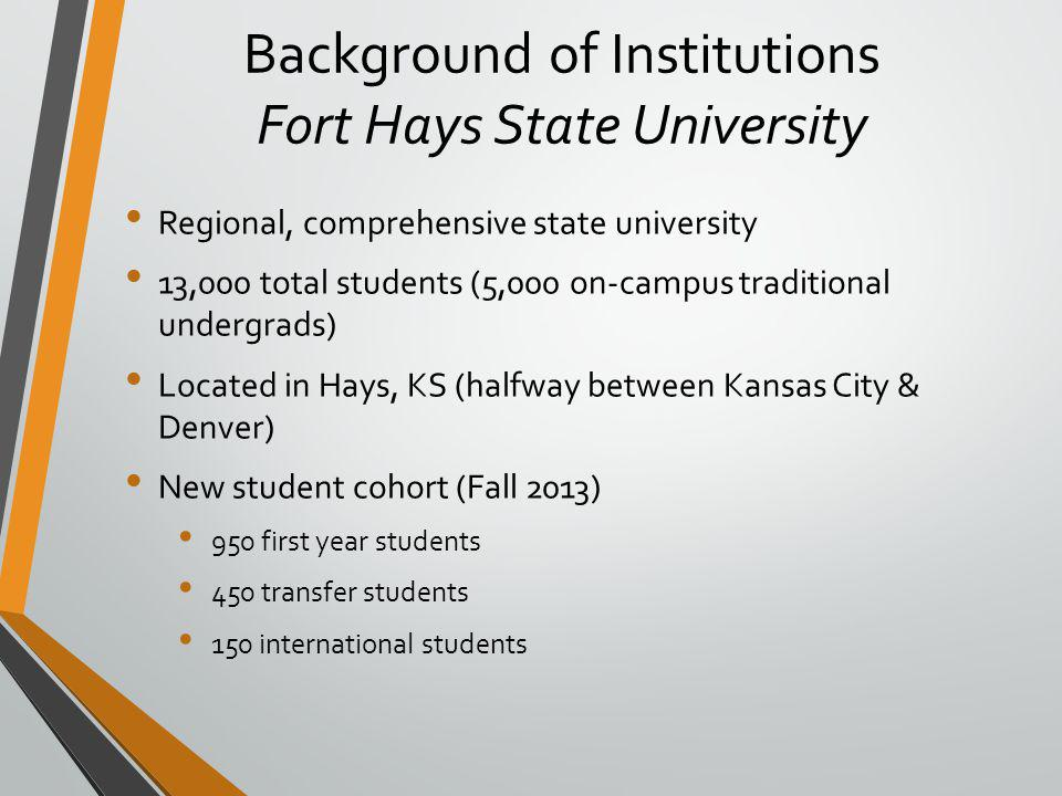 Background of Institutions Fort Hays State University Regional, comprehensive state university 13,000 total students (5,000 on-campus traditional undergrads) Located in Hays, KS (halfway between Kansas City & Denver) New student cohort (Fall 2013) 950 first year students 450 transfer students 150 international students